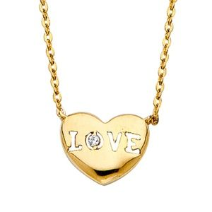 Jewelry - 14k solid yellow gold LOVE HEART Pendant Necklace